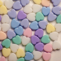 Pastel Colored Heart Pony Acrylic Beads 8mm (50)