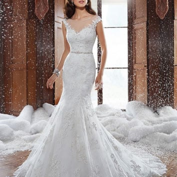 2015 New Design Cap Sleeves Sheer Illusion Neckline Elegant Lace Mermaid Wedding Dress Custom made Applique Sexy Bride Dresses