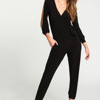 BLACK WRAP SLIT SLEEVES JUMPSUIT
