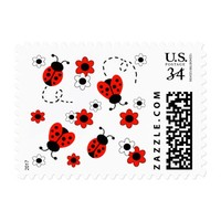 Red Ladybug Lady Bug Floral White Spring Flowers Postage