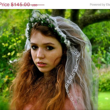20% OFF SALE FAIRYTALE Antique Art Deco 1920s Lace gauze Wedding Veil & Myrtle flower blossom Tiara Woodland Bride garland Headpiece crown