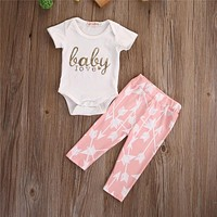 Love Baby Girls Autumn Cotton Clothes Sets Basic Cotton Rompers And Arrow Printing Pants 2PCS Newborn Girls Outfits Set