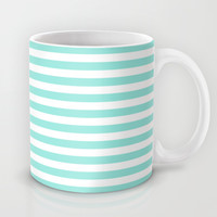 Stripe Tiffany Blue Horizontal Mug by Beautiful Homes
