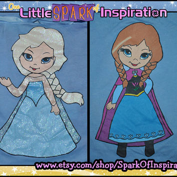 Best Budies Fairytale Cuties Frozen - Elsa the Snow Queen & Anna Kawaii Inspired Sisters T-Shirts Commission
