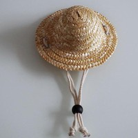 Summer 1pcs Pet Dog Cat Cool Straw Hat Sun Hats Puppy Supplies Hawaii Style Pet Accessories Dogs Cats Caps S M