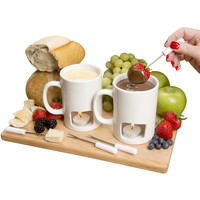 Evelots Personal Chocolate & Cheese Fondue Mug Set, Available in Black or White