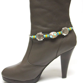 Boot Bracelet Turquoise Blue Pale Yellow Brown Silver Conchos Western Cowgirl Jewelry Bling