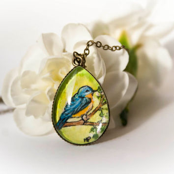 Bird necklace Bluebird Spring necklace Hand painted by TraBan