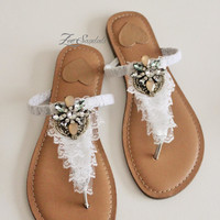Elegant Shoes by Zee Sandals, Summer Sandals with Sparkling Jewels for Destination Beach Wedding (Style: RENMEN)