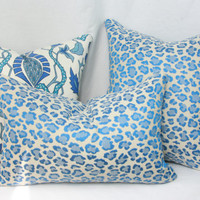 "Blue cheetah jacquard decorative throw pillow cover. 20"" x 13"" pillow cover. Claridge Cheetah jacquard."