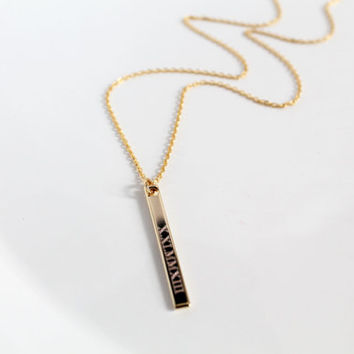 Engravable Vertical Bar Necklace, Hand Stamped Bar Necklace, Initial Or Numbers, Roman Numerals, Greek, Longitude/Latitude