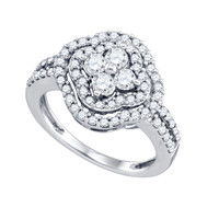 Diamond Ladies Fashion Ring in 14k White Gold 1.04 ctw