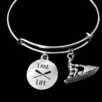 Jet Ski Lake Life Jewelry Adjustable Bracelet Expandable Silver Charm Bangle One Size Fits All Gift
