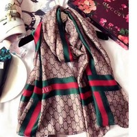ONETOW GUCCI Fashion Women Easy to match Silk Scarf F