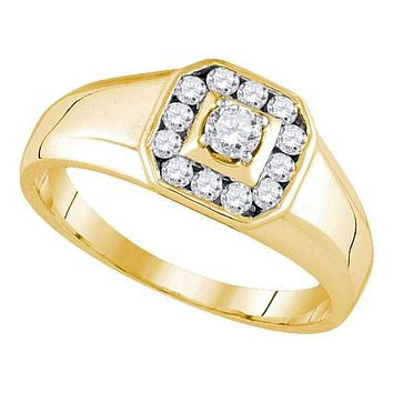 14kt Yellow Gold Men's Round Diamond Cluster Ring 1/2 Cttw - FREE Shipping (US/CAN)