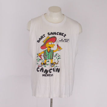 90s BART SIMPSON Cut Off TANK / 1990s Soft Thin Muscle Tee Party Animal Cancun Mexico Distressed Tshirt T-Shirt