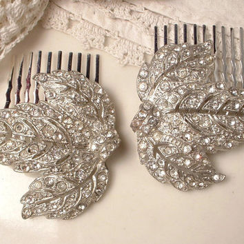 Vintage 1920s Rhinestone Bridal Hair Combs, PAIR Art Deco Pave Crystal Leaf Fur Clips to Head Piece Flapper Great Gatsby Hair Accessory