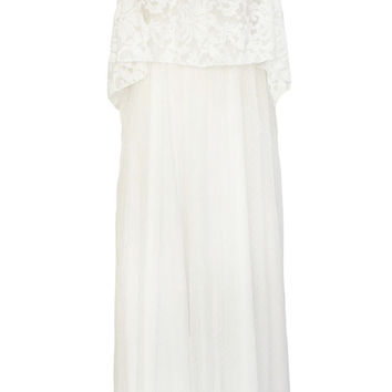 White Lace Flounce Wedding Maxi Dress
