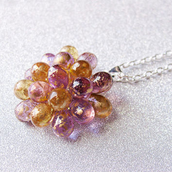 Purple and Honey Gold Cocktail Necklace - Limited Edition Pendant Necklace, Statement Necklace, Golden Plum Cluster Necklace, Christmas gift
