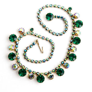 Vintage Green & Aurora Borealis Rhinestone Necklace -  Signed WEISS 1950s Gold Tone Costume Jewelry / Green Blue Crystal Sparkle