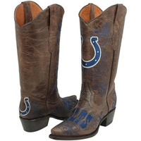 Indianapolis Colts Womens Embroidered Cowboy Boots - Brown
