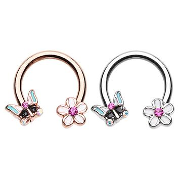 Rose Gold & Silver Spring Butterfly Flower Horseshoe Circular Barbell