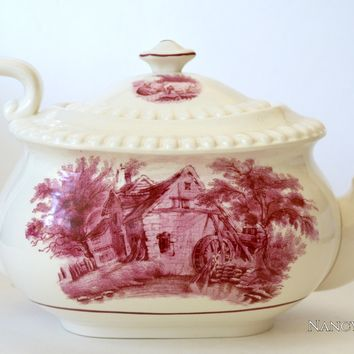Rare Copeland Spode Duncan Rural Scenes Pink Red Transferware Teapot Cows & Cottage Water Mill