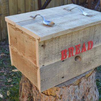 Large  Wood Bread Box Red Letters
