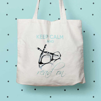 Keep Calm and Read On Eco tote bag, Book lover gift