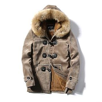 jaqueta masculina thick men down jacket male Deer skin leather couple hooded winter jackets and coats cotton parka man