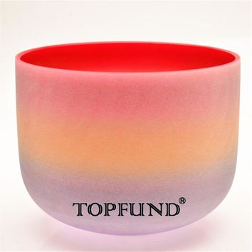 "TOPFUND Rainbow  Frosted Chakra Quartz Crystal Singing Bowl 8"" -Different Note bowls available With Free Mallet and O-Ring"