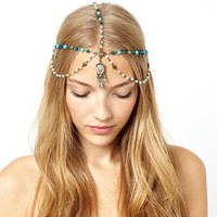Turquoise Pearl Headdress