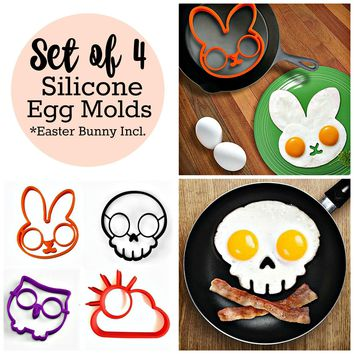 Set of 4 Silicone Breakfast Egg Molds
