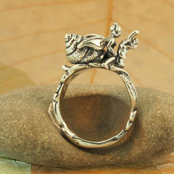 Silver Fairy Snail Rider Ring