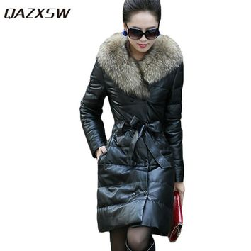 QAZXSW Women Winter PU Jacket Thicken Leather Jackets Slim Warm PU Coats Fur Collar Double Breasted Women Suede Jackets HB119