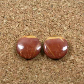 Red Creek Jasper Matched Pair - Red and Yellow Round Cabochon Beads, 1 pair