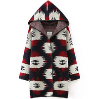 Fashion New Mosaic Print Geometric Hoodie Sweater Outerwear