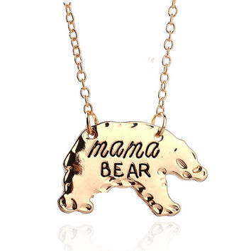 """Mama Bear"" Pendant Necklace - Gold/Silver"