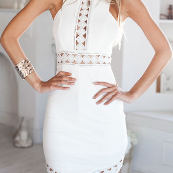 White Sleeveless Cut-Out Asymmetrical Mini Dress