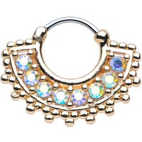 "16 Gauge 3/8"" Aurora CZ Gold IP Tribal Queen Septum Clicker 
