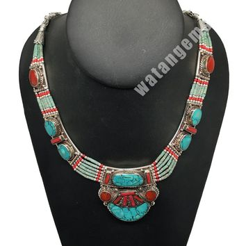 Ethnic Tribal Nepalese tribal Green Turquoise & Red Coral Inlay Necklace, E259