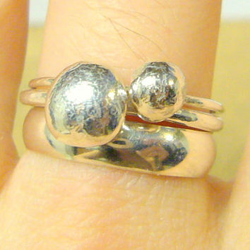 Sterling silver stacking rings Alternative by WatchMeWorld on Etsy