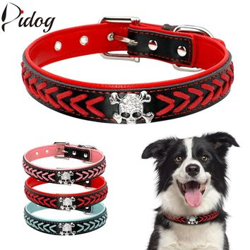 Didog Soft PU Leather Dog Collar Pet Braided Collars Necklace Bling Rhinestone Skull Accessories For Small Medium Large Dogs