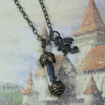 Dragonglass Vial with Dragon Charm on Antiqued Gold Necklace