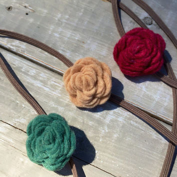 Felt Flower Headband, Baby Headband Set, Red Flower Headband, Tanv Felt Flowers, Green Flower Headband