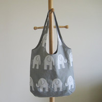 Elephant Tote, Elephant Bag, Elephant Purse Grey and White