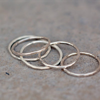 Hammered Skinny Stacking Thumb Ring in Sterling Silver