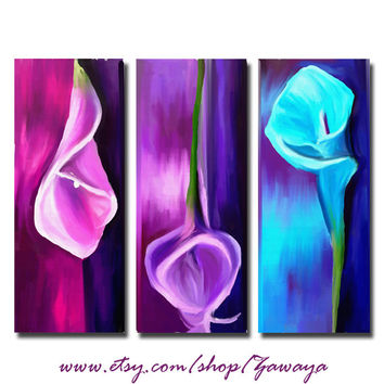 FREE SHIPPING purple pink blue canvas art set of three flowers painting art print stretched home decor design#109