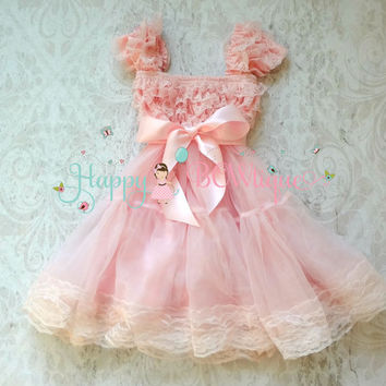 Flower girl dress, Baby Pink Bow Chiffon Lace Dress,Girls dress,baby dress,1st Birthday dress,Pink Dress,Princess dress,Wedding flower girl