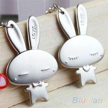 DCCKIX3 Couple Keychain Valentine's Day Lover Gift Rabbit Keyring Keyfob 1 Pair
